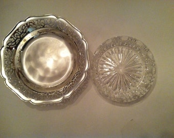 Stunning Vintage WMF IKORA Silver Plated Tray and Glass Dish German