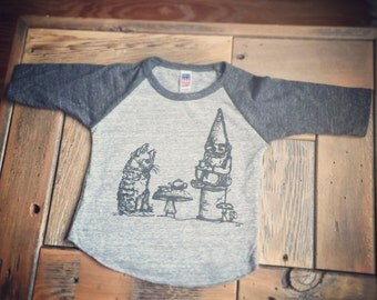 Indifferent Tea Party Infant Baseball tee-Unisex-tri blend Royal Apparel-tshirt-t shirt-baby clothes-gnome-cat-kitty-kitten-garden nome