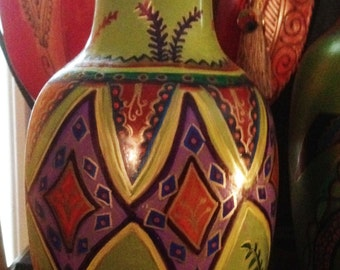 """Hand Painted Green Ceramic Vase With Deep Jewel Tone Colors 6""""Wx12""""Hx6""""D  V0017"""