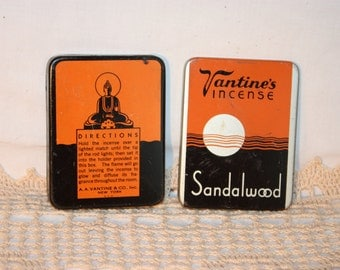 A A Vantines & Co., Inc., New York. Sandalwood incense tin, lift off cover, empty, great condition