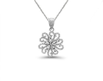 """Sterling silver flower pendant on an 18"""" silver chain. sterling silver flower necklace."""