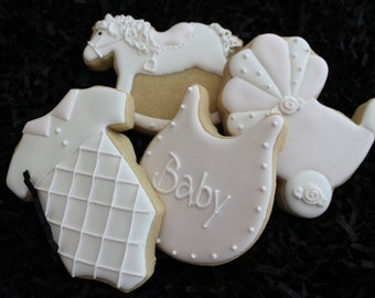 Baby shower cookie favors, rocking horse cookies, carriage cookies, baby boy shower, onesie cookies, duck cookies, custom decorated cookies