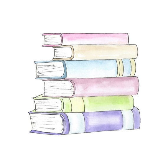 Book Cover Watercolor Art ~ Watercolor stack of books clipart planner school