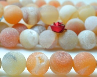 47 pcs of Rainbow Agate matte round beads in 8mm