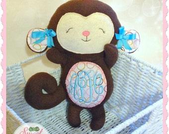 Personalized Plush Monkey - stuffed animal monkey - monkey stuffie - embroidered stuffed monkey