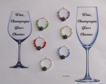 Wine glass charm set Flower, Wine / Champagne glass decorations, wine markers, table decor, party decor, birthday gift, gifts ideas