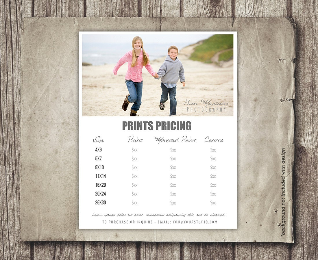 Photography Template Price Sheet Photography Price List