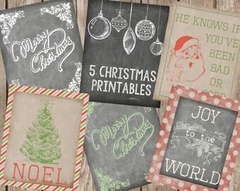 Christmas Printables-Set of 5 Printables-8x10 Digital Prints-You Print Yourself
