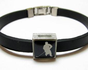 Hockey Skating Silhouette Link With Choice Of Colored Band Charm Bracelet