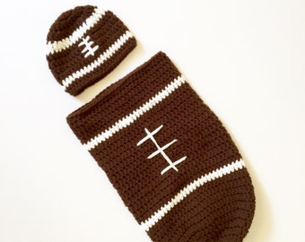 Crochet football baby cacoon set / football cacoon / football beanie /photo prop / baby gift