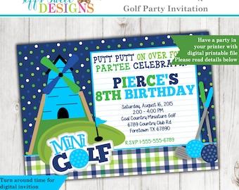 Miniature Golf Invitation - Golf Party Invite - Custom - Printable Putt Putt Golf Birthday Party - Boy
