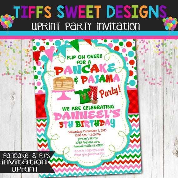 Christmas pancake amp pajama birthday party invitation christmas