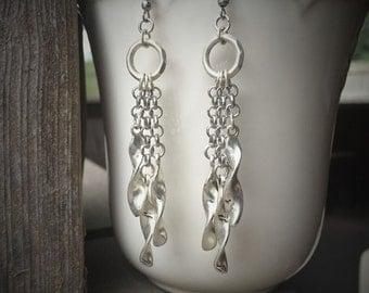 Long Twisted Silver Chain Dangle Earrings