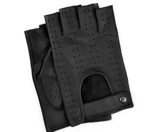 Fingerless leather gloves/Men's driving car-cycling/fitness/mens glove/italian nappa leather/gloves-half finger lambskin gloves/gift for him