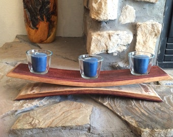 Table top 3 votive candle holder made from a repurposed wine barrel