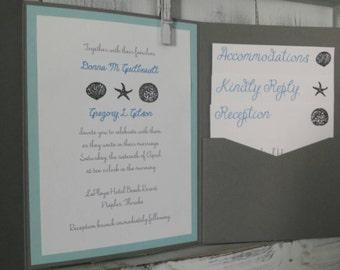 Handmade Beach Themed Wedding Invitations