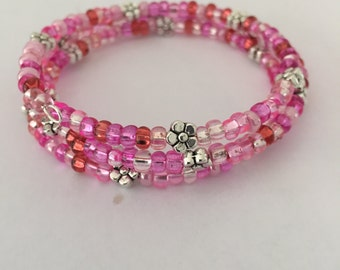 Glass and Silver Bead Memory Wire Bracelet