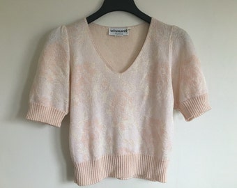 vintage 80's PINK ROSE CROPPED feminine sweater - small