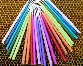 24 Rainbow Birthday Candles,12 colours, Beeswax Birthday Candles, Hand Dipped Birthday Candles, Coloured Tapers, Coloured Beeswax Candles