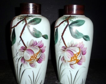 50% OFF -Pair of Bristol Glass Vases with Peony Design