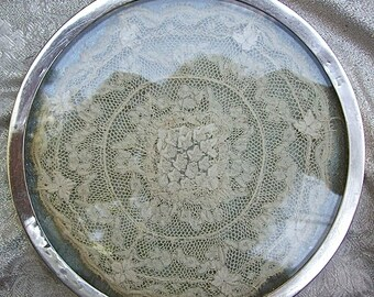Antique Hand Made Lace Doily Silver Rimmed TRIVET or VANITY TRAY