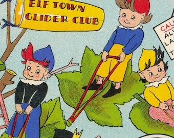 Vintage UNUSED Birthday Card ELVES PIXIES Flying Gliding on Leaves Woodland Fantasy