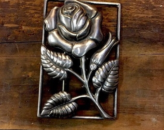 Vintage Danecraft Sterling Silver Rose w Bud Square Brooch Pin