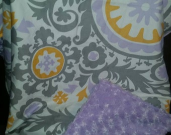 Clearance...Wisteria and minky swirl baby blanket Ready to Ship!!!