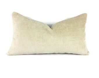 """11"""" x 20"""" Textured Pearly Tan Velvet Lumbar Pillow Cover"""