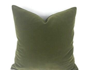 Kravet Moss Green Velvet Pillow Cover