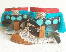 Bohemian Upcycled Boots, Boho Boots, Gypsy Boots, Festival Boots, Re Worked Vintage Cowboy Boots, Boho Chic, Ankle Booties