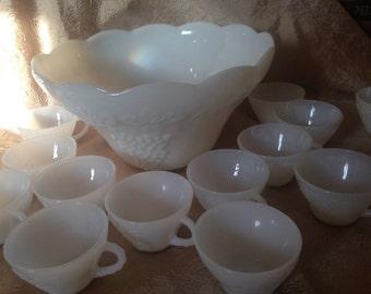 Gorgeous Milk Glass Punchbowl Set with Grape Leaf Design