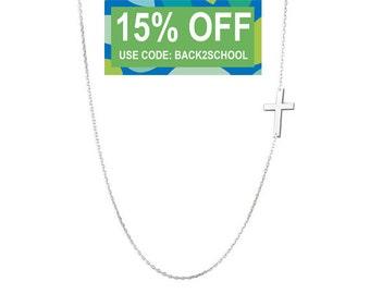 Sideways Silver Cross necklace off centered pendant on 925 silver JLO Kelly Ripa