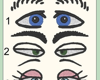EYES PACK #2 -  From The Silly Faces Collection - 3 Machine Embroidery Files
