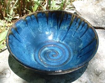 Handmade blue stoneware bowl