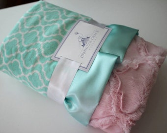 Trellis Minky in Opal Mint with Baby Pink Lattice Minky Back and Coordinatng Satin Trim, Baby Girl, Nursery, Green, Crib Bedding
