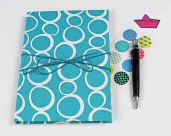 Notebook spotted bullet, journal, diary of dreams, fabric-based notebook, idea book, diary, notebook, turquoise white dotted
