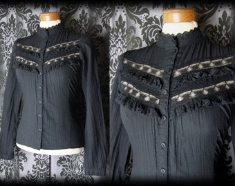 Gothic Black Lace Frill Bib VICTORIAN GOVERNESS High Neck Blouse 8 10 Vintage