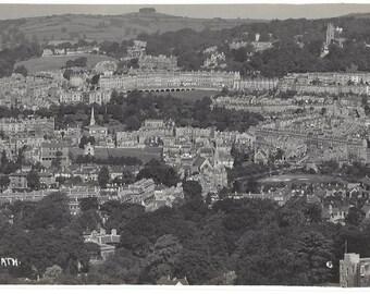 Vintage RPPC Postcard - City of Bath - United Kingdom - Aerial View - Photographer G L Dafnis