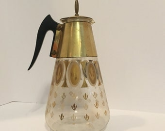Vintage Mid Century Fred Press Corning Heat Proof Glass Coffee Carafe