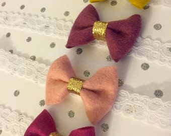 Pick 2: Bows with Gold Glitter Center- Choose from Mustard, Mulberry, Blush, Fuschia