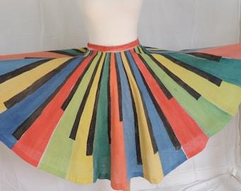 Rare Vintage Emilio Pucci colorblock circle skirt