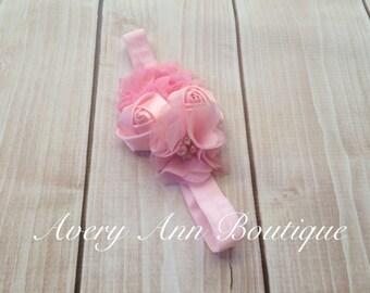 Pink Headband, Flower Girl Headband, Baby Pink Headband, Newborn Pink Headband, Flower Headband, Holiday Headband, First Birthday