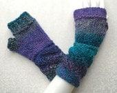 Knit Fingerless Gloves, Blue Purple Hand Warmers, Fingerless Mitts - Caribbean Blues - Twist Cuff