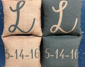 Custom Burlap Corn Hole Bags - Great for weddings, birthdays