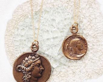 Coin Necklace, Bronze Coin Necklace, Antique Coin Necklace, Necklace Coin Bronze, Antique Bronze Coin Necklace, Coin Bronze,