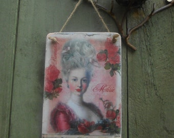 hanging wood sign marie antoinette romantic shabby chic french decor decorative plaque gift for her lily maud ornate design