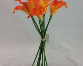 Real Touch Calla Lily Bunch - ORANGE