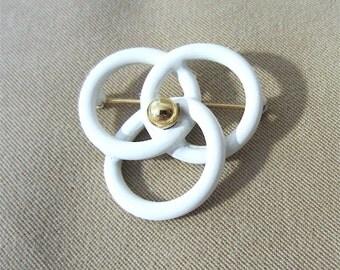 Vintage 80's White Enameled Triple Circle & Brass Lapel Pin Ladies Brooch