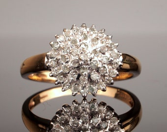 Vintage Diamond Cluster Ring, Engagement Ring, Size 8